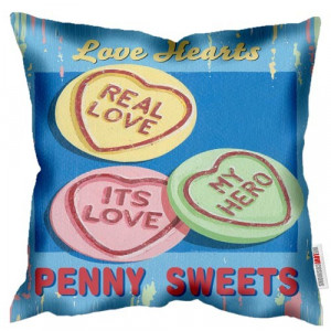 Love Hearts Penny Sweets Art Print Retro Cushion Martin Wiscombe