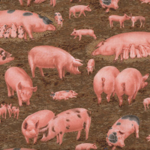 Pigs on Brown Farm Animal Quilt Fabric