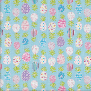 Patterned Pineapples on Blue Quilting Fabric