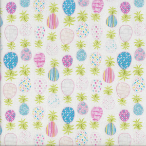 Patterned Pineapples on White Quilting Fabric