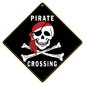 Pirate Skull and Cross Bones Crossing Road Sign