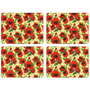 Set of 4 Dining Table Placemats and Coasters Red Poppy