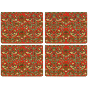 Set of 4 Dining Table Placemats and Coasters Strawberry Thief