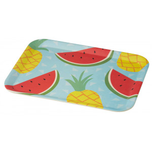 Tropicana Watermelon Pineapple Design Bamboo Fibre Rectangular Platter
