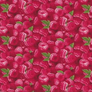 Red Raspberries Green Leaves Fruit Quilt Fabric