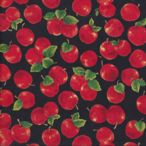 Red Apples Green Leaves on Black Fruit Quilt Fabric