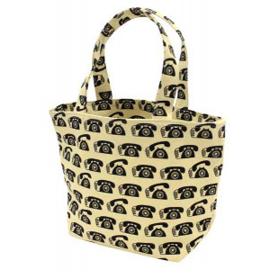 Canvas Mini Tote Shopping Lunch Bag Retro Black Phones