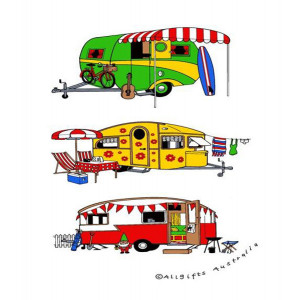 Retro Camping Caravans 100% Cotton Kitchen Tea Towel