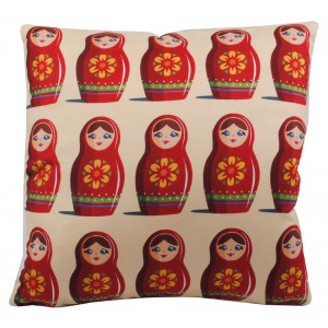 Art Print Retro Cushion Russian Dolls Matryoshka Babushka By Jenny Wiscombe