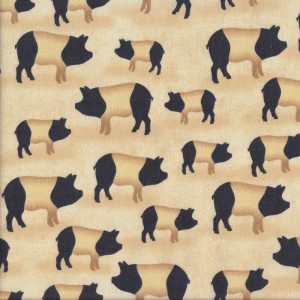 Saddleback Pigs on Beige Country Quilt Fabric