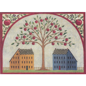 Saltbox Houses and Apple Tree Greeting Card by Deb Strain