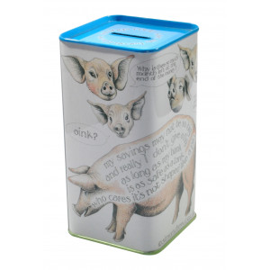 Save My Bacon Pig Tin Money Box by Simon Drew