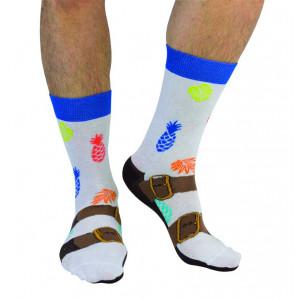 Mens Sandal and Pineapple Design Fun Novelty Socks