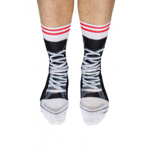 Mens Lace Up Sneakers Black Design Fun Novelty Socks