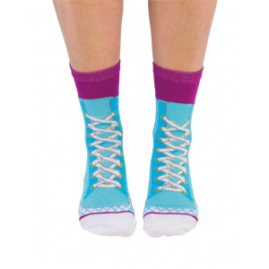 Ladies Lace Up Sneakers Blue Design Fun Novelty Socks