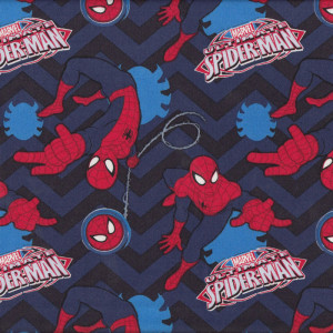 Ultimate Spiderman Marvel Blue and Black Chevron Licensed Quilt Fabric