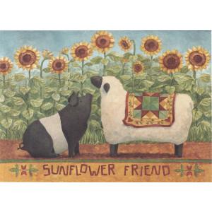 Sunflower Friend Pig and Sheep Greeting Card by Teresa Kogut