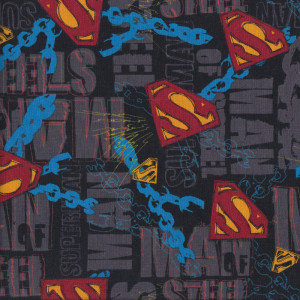 Superman Man of Steel Chains Licensed Quilt Fabric