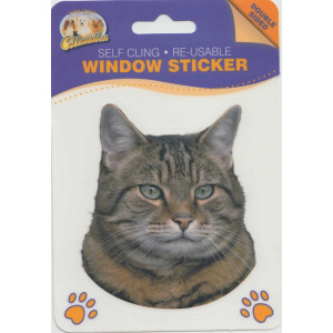 Tabby Cat Self Cling Re-usable Window Sticker