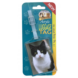 Black and White Cat Acrylic Suitcase Travel Luggage Tag