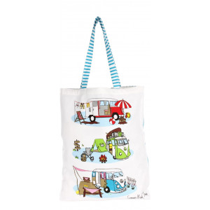 Kombi Campervan Summer Road Trip Cotton Shopper Tote Carry Bag
