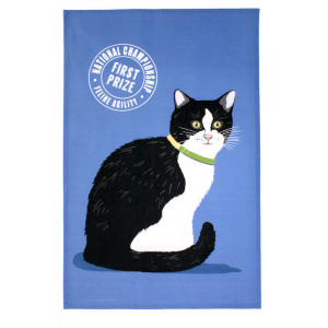 Black and White Cat 100% Cotton Kitchen Tea Towel