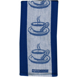 Coffee Cups Cafe Style Kitchen Tea Towel 100% Cotton Jacquard Blue