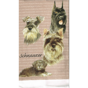 Schnauzer Dogs 100% Cotton Kitchen Tea Towel