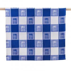 Cutlery Knife Fork Spoon on Blue Pattern 100% Waffle Cotton Tea Towel