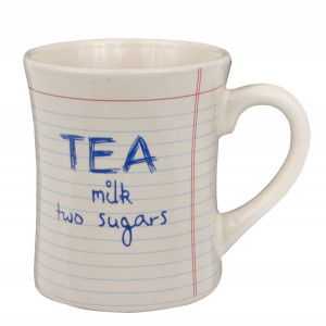 Notebook Style Tea Milk Two Sugars Ceramic Cup Mug