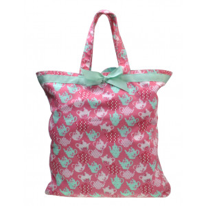 Reusable Grocery Shopping Tote Carry Bag 100% Cotton Teapots on Pink