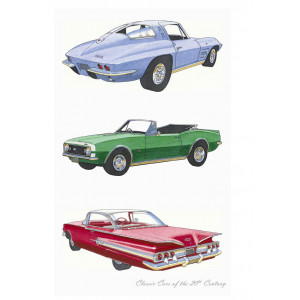 Classic Chevrolet Cars of the 20th Century 100% Cotton Kitchen Tea Towel