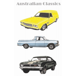 Classic Holden Cars of the 20th Century 100% Cotton Kitchen Tea Towel