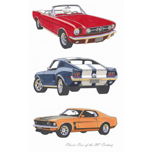 Classic Mustangs of the 20th Century 100% Cotton Kitchen Tea Towel