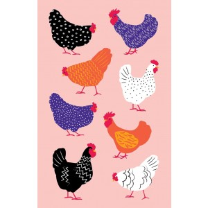 Colourful and Bright Hens 100% Cotton Kitchen Tea Towel