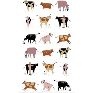 Dairy Cows on White 100% Cotton Kitchen Tea Towel