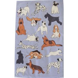 Dog Breeds on Blue 100% Cotton Kitchen Tea Towel