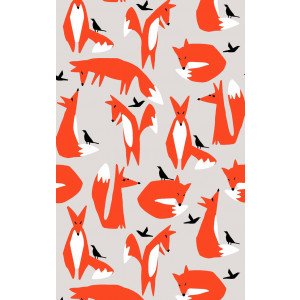 Foxes and Black Birds 100% Cotton Kitchen Tea Towel