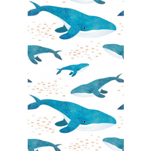 Whales and Fish 100% Cotton Kitchen Tea Towel