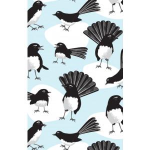 Australian Willy Wagtail Birds 100% Cotton Kitchen Tea Towel