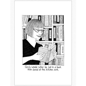 Cecily Would Rather be Lost in a Book Than at Kitchen Sink Tea Towel