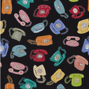 Telephones on Black Quilting Fabric