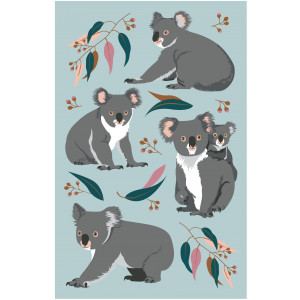 Australian Koala and Gum Leaves on Green 100% Cotton Kitchen Tea Towel
