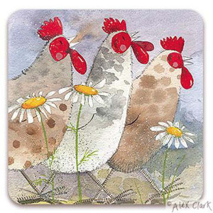 Chickens Hens Daisies Cork Backed Drink Coaster By Alex Clark