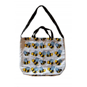 Cotton Drill Shopper Tote Carry Bag Bumble Bees