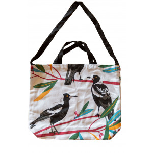 Cotton Drill Shopper Tote Carry Bag Magpies
