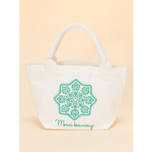 Mini Canvas Merci Gift Tote Shopping Lunch Bag Flower