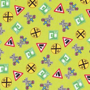 Choo Choo You Train Rail Road Signs on Green Quilting Fabric