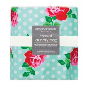 Travel Laundry Bag Red Roses Design on Jade Green Spots
