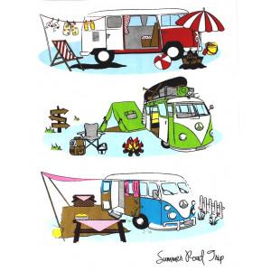 Kombi Campervan 100% Cotton Kitchen Tea Towel Summer Road Trip